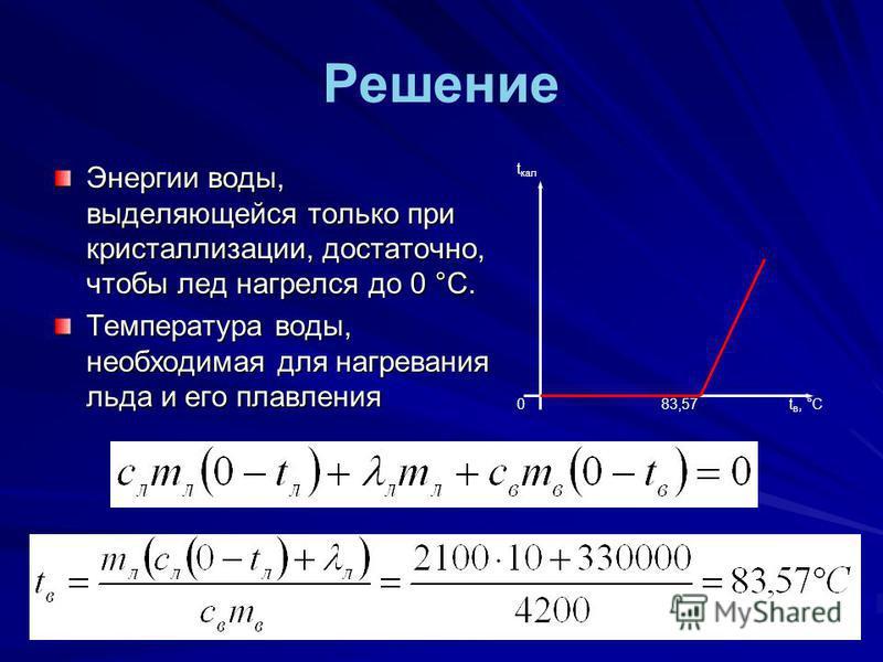 Решение Энергии воды, выделяющейся только при кристаллизации, достаточно, чтобы лед нагрелся до 0 °С. Температура воды, необходимая для нагревания льда и его плавления t кал 0t в, °С83,57