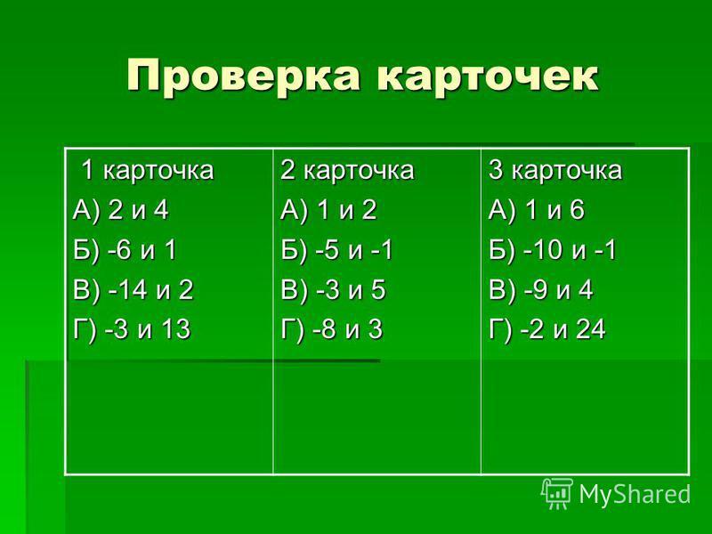 Проверка карточек 1 карточка 1 карточка А) 2 и 4 Б) -6 и 1 В) -14 и 2 Г) -3 и 13 2 карточка А) 1 и 2 Б) -5 и -1 В) -3 и 5 Г) -8 и 3 3 карточка А) 1 и 6 Б) -10 и -1 В) -9 и 4 Г) -2 и 24
