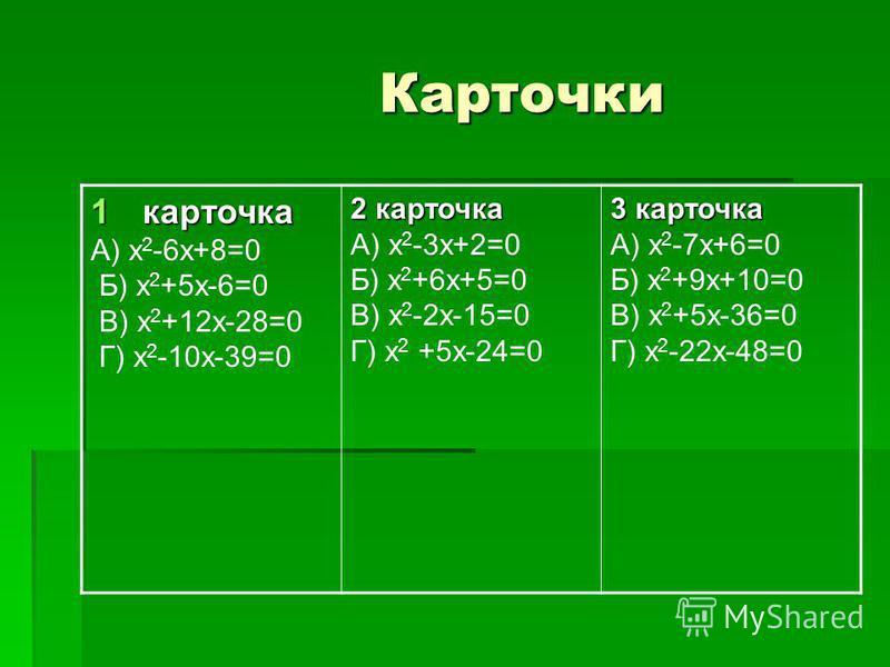 Карточки Карточки 1 карточка А) х 2 -6 х+8=0 Б) х 2 +5 х-6=0 В) х 2 +12 х-28=0 Г) х 2 -10 х-39=0 2 карточка А) х 2 -3 х+2=0 Б) х 2 +6 х+5=0 В) х 2 -2 х-15=0 Г) х 2 +5 х-24=0 3 карточка А) х 2 -7 х+6=0 Б) х 2 +9 х+10=0 В) х 2 +5 х-36=0 Г) х 2 -22 х-48
