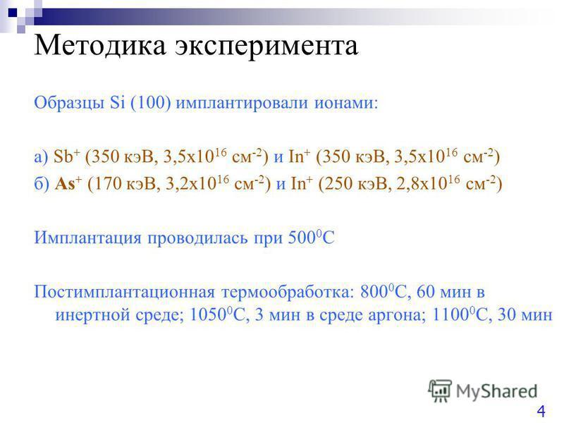 Методика эксперимента Образцы Si (100) имплантировали ионами: а) Sb + (350 кэВ, 3,5 х 10 16 см -2 ) и In + (350 кэВ, 3,5 х 10 16 см -2 ) б) As + (170 кэВ, 3,2 х 10 16 см -2 ) и In + (250 кэВ, 2,8 х 10 16 см -2 ) Имплантация проводилась при 500 0 С По