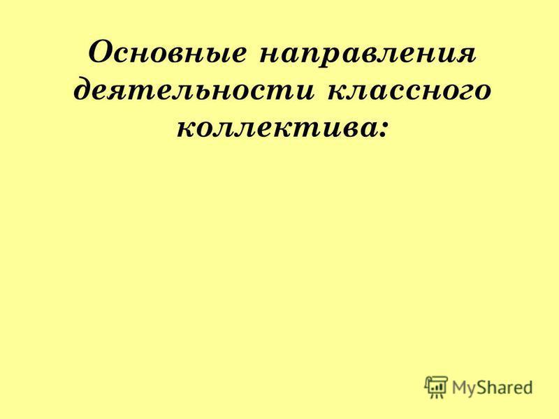 Основные направления деятельности классного коллектива: