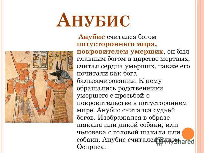 А НУБИС Анубис считался богом потустороннего мира, покровителем умерших, он был главным богом в царстве мертвых, считал сердца умерших, также его почитали как бога бальзамирования. К нему обращались родственники умершего с просьбой о покровительстве
