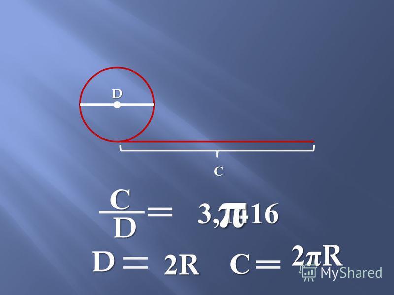 D С D С 3,1416 π D 2R2R2R2R С 2πR