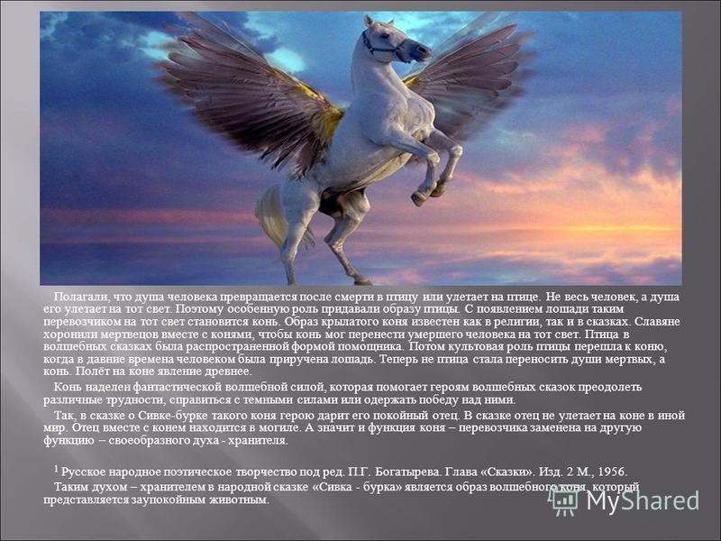 Полагали, что душа человека превращается после смерти в птицу или улетает на птице. Не весь человек, а душа его улетает на тот свет. Поэтому особенную роль придавали образу птицы. С появлением лошади таким перевозчиком на тот свет становится конь. Об