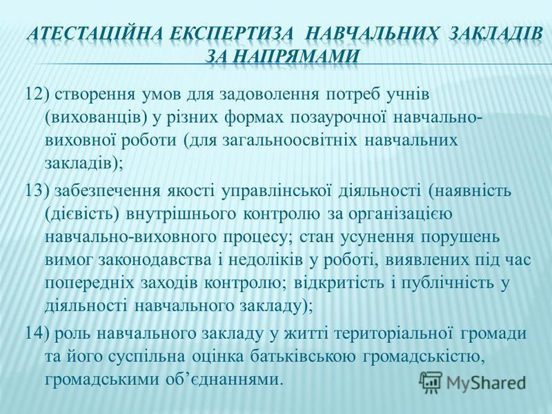 12) створення умов для задоволення потреб учнів (вихованців) у різних формах позаурочної навчально- виховної роботи (для загальноосвітніх навчальних закладів); 13) забезпечення якості управлінської діяльності (наявність (дієвість) внутрішнього контро