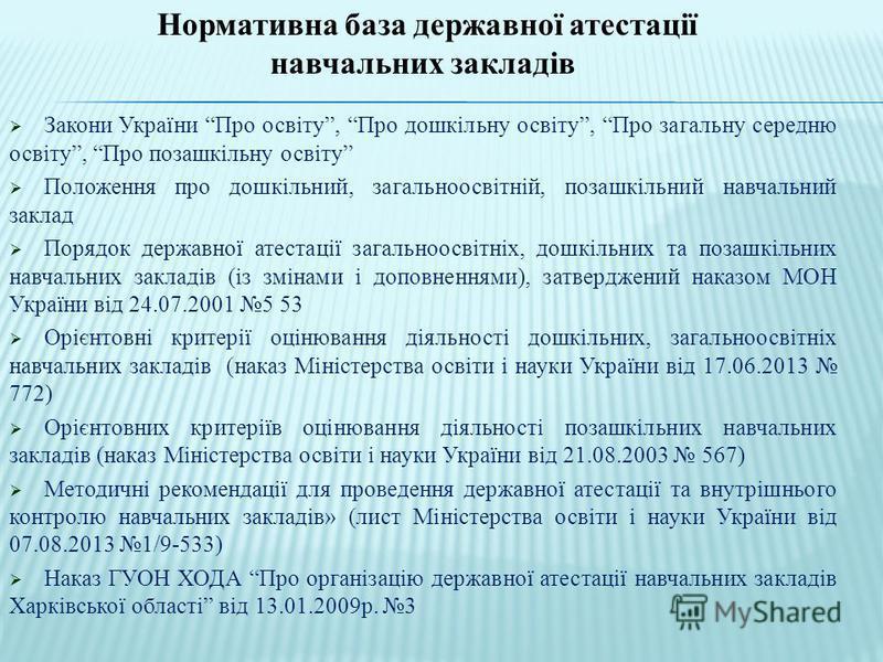 Нормативна база державної атестації навчальних закладів Закони України Про освіту, Про дошкільну освіту, Про загальну середню освіту, Про позашкільну освіту Положення про дошкільний, загальноосвітній, позашкільний навчальний заклад Порядок державної