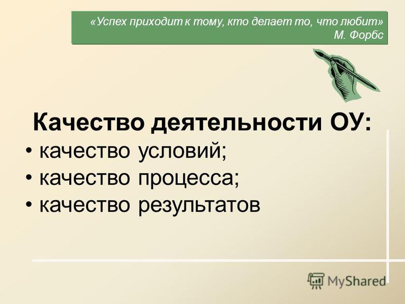 Качество деятельности ОУ: качество условий; качество процесса; качество результатов «Успех приходит к тому, кто делает то, что любит» М. Форбс