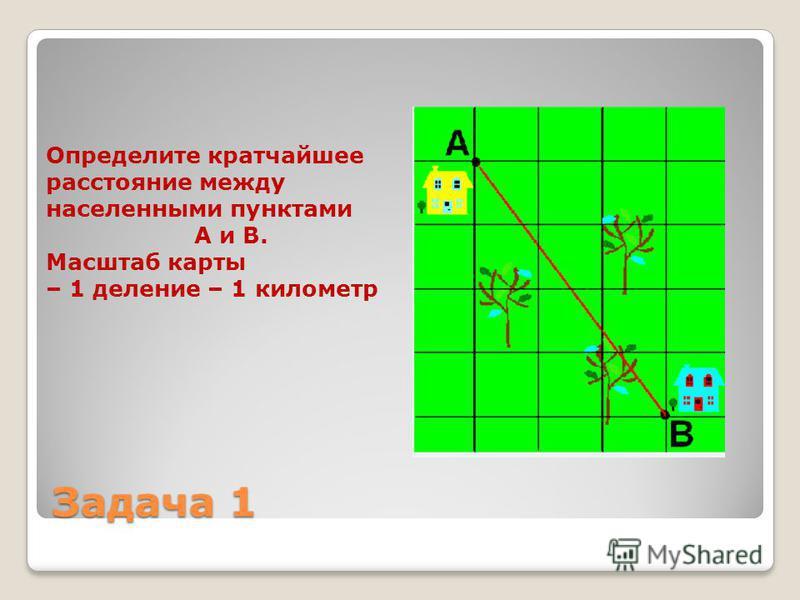 Определите кратчайшее расстояние между населенными пунктами А и В. Масштаб карты – 1 деление – 1 километр Задача 1