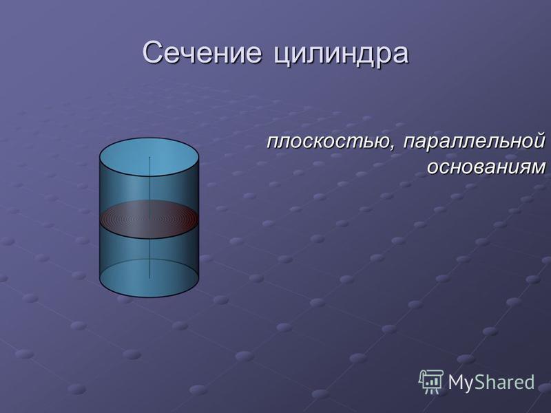 Сечение цилиндра плоскостью, параллельной основаниям