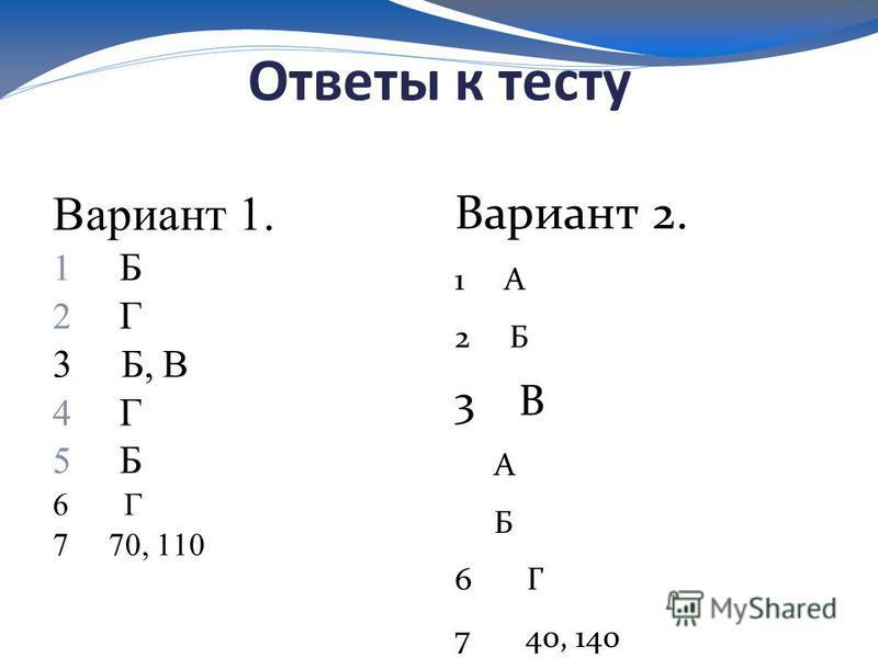 Ответы к тесту Вариант 1. 1 Б 2 Г 3 Б, В 4 Г 5 Б 6 Г 7 70, 110 Вариант 2. 1 А 2 Б 3 В А Б 6 Г 7 40, 140