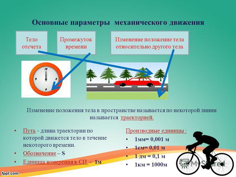 Основные параметры механического движения Путь - длина траектории по которой движется тело в течение некоторого времени. Обозначение – S Единица измерения в СИ - 1 м Производные единицы : 1 мм= 0,001 м 1 см= 0,01 м 1 дм = 0,1 м 1 км = 1000 м Тело отс