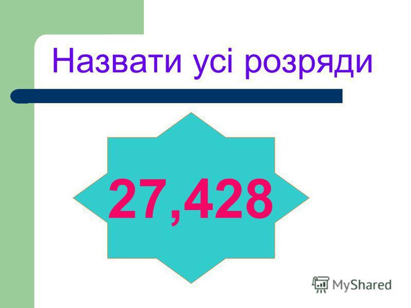 Назвати усі розряди 27,428