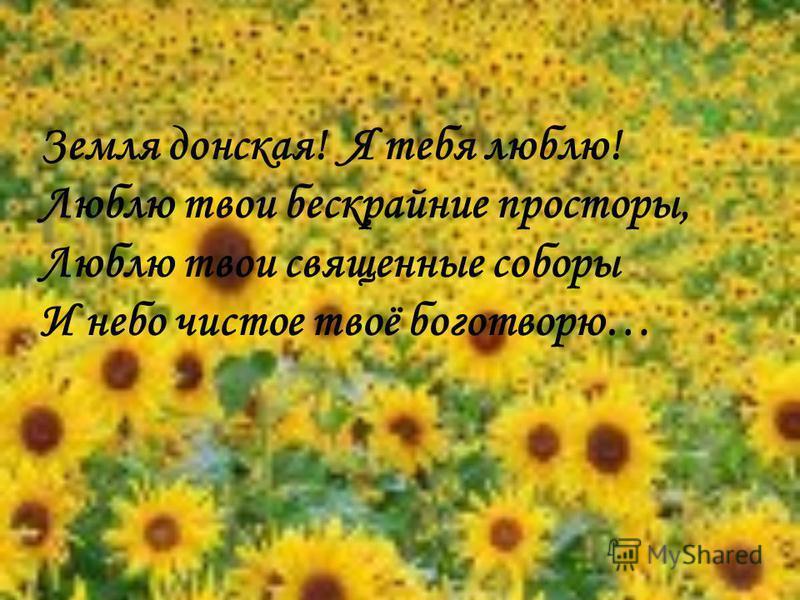 Земля донская! Я тебя люблю! Люблю твои бескрайние просторы, Люблю твои священные соборы И небо чистое твоё боготворю…
