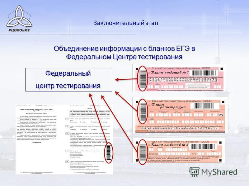Объединение информации с бланков ЕГЭ в Федеральном Центре тестирования Федеральный центр тестирования Заключительный этап
