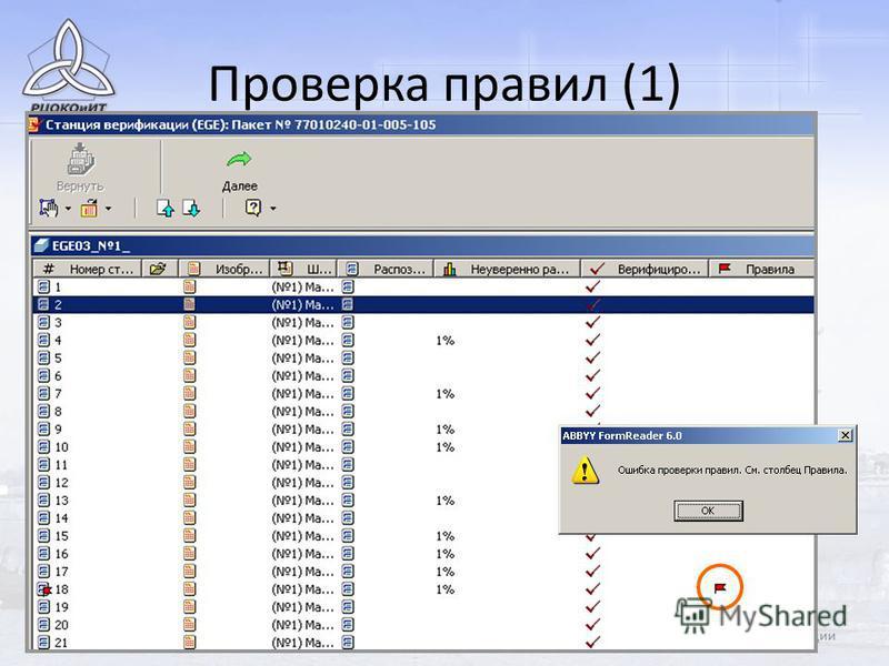 61Станции верификации Проверка правил (1)