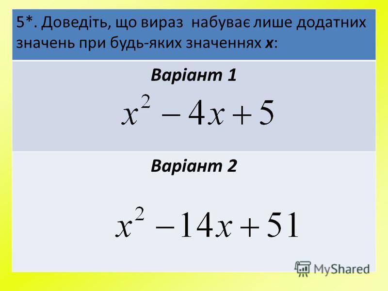 5*. Доведіть, що вираз набуває лише додатних значень при будь-яких значеннях х: Варіант 1 Варіант 2
