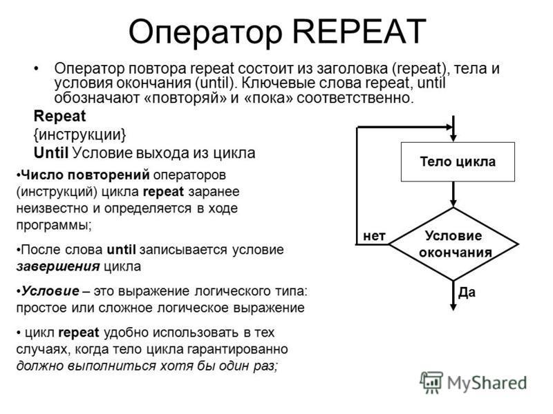 Оператор REPEAT Оператор повтора repeat состоит из заголовка (repeat), тела и условия окончания (until). Ключевые слова repeat, until обозначают «повторяй» и «пока» соответственно. Repeat {инструкции} Until Условие выхода из цикла Тело цикла Условие