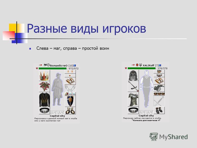 Разные виды игроков Слева – маг, справа – простой воин