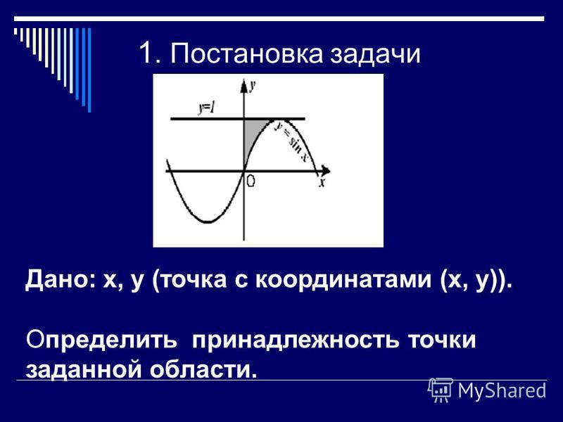 Дано: х, у (точка с координатами (х, у)). Определить принадлежность точки заданной области. 1. Постановка задачи