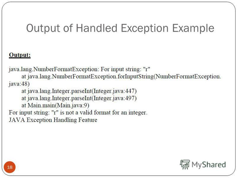 Output of Handled Exception Example 18