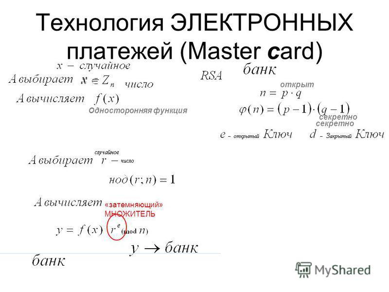 Технология ЭЛЕКТРОННЫХ платежей (Master card) секретно открыт секретно Односторонняя функция «затемняющий» МНОЖИТЕЛЬ