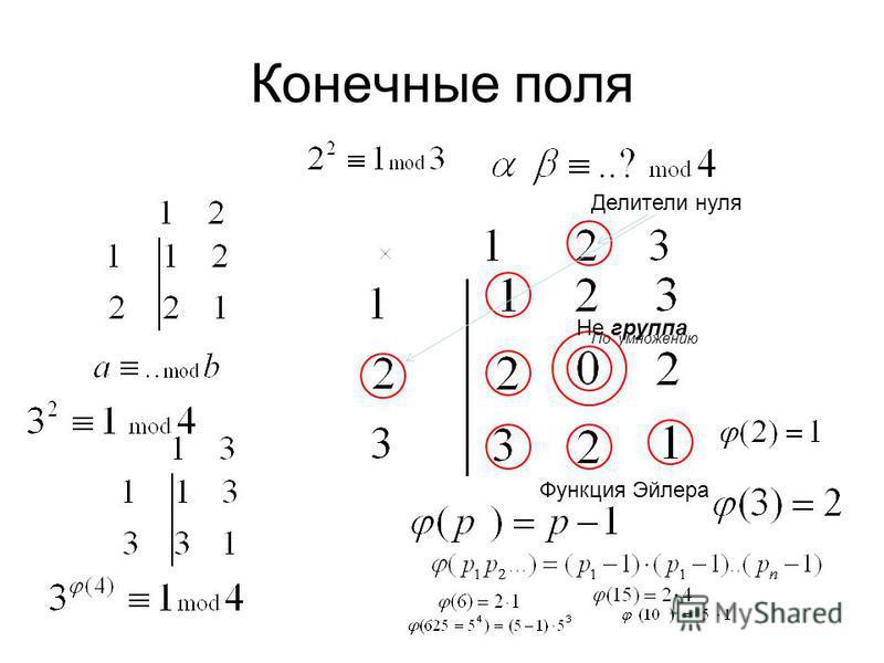 Конечные поля Не группа По умножению Делители нуля Функция Эйлера