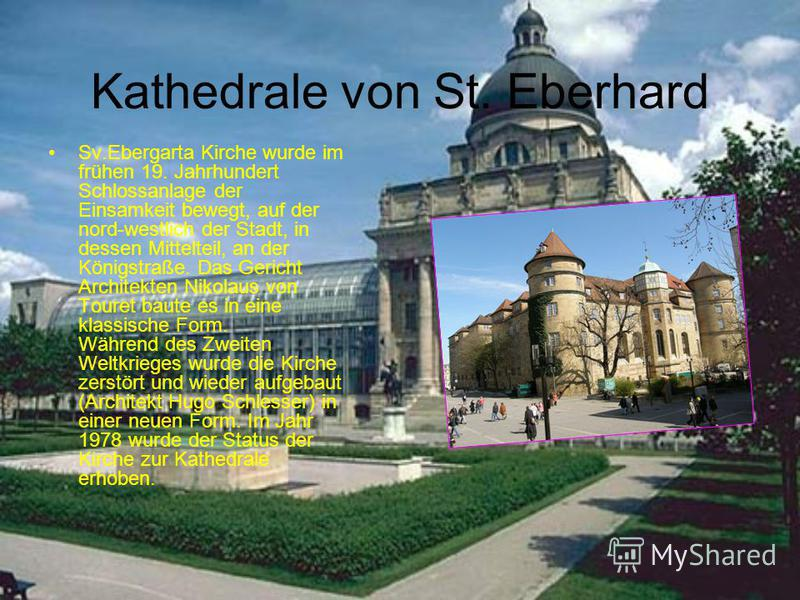 Kathedrale von St. Eberhard Sv.Ebergarta Kirche wurde im frühen 19. Jahrhundert Schlossanlage der Einsamkeit bewegt, auf der nord-westlich der Stadt, in dessen Mittelteil, an der Königstraße. Das Gericht Architekten Nikolaus von Touret baute es in ei