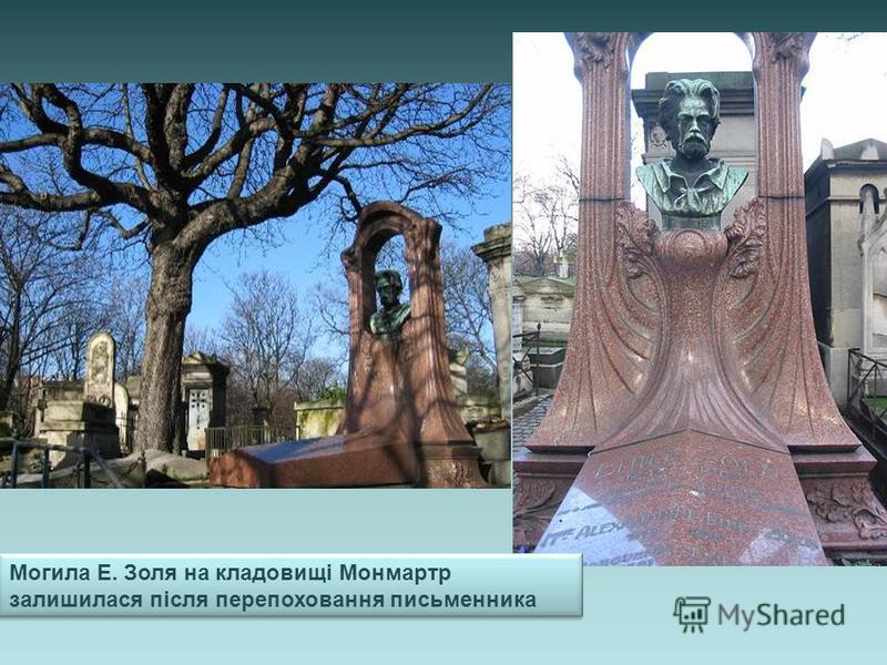Могила Е. Золя на кладовищі Монмартр залишилася після перепоховання письменника