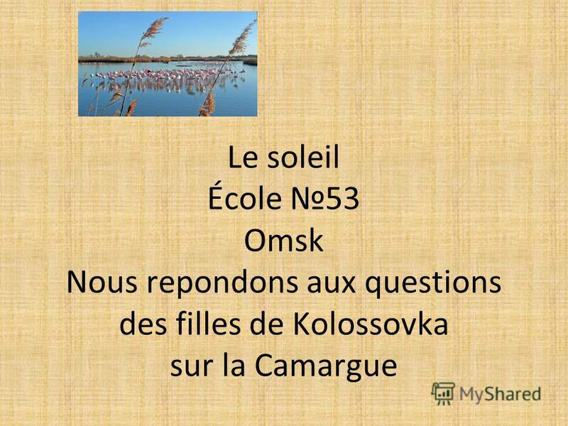 Le soleil École 53 Omsk Nous repondons aux questions des filles de Kolossovka sur la Camargue