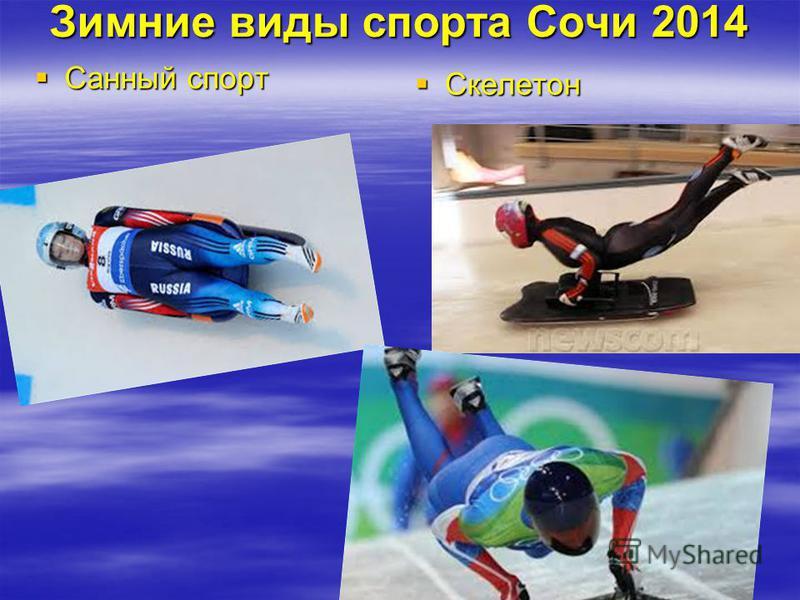 Зимние виды спорта Сочи 2014 Санный спорт Санный спорт Скелетон Скелетон