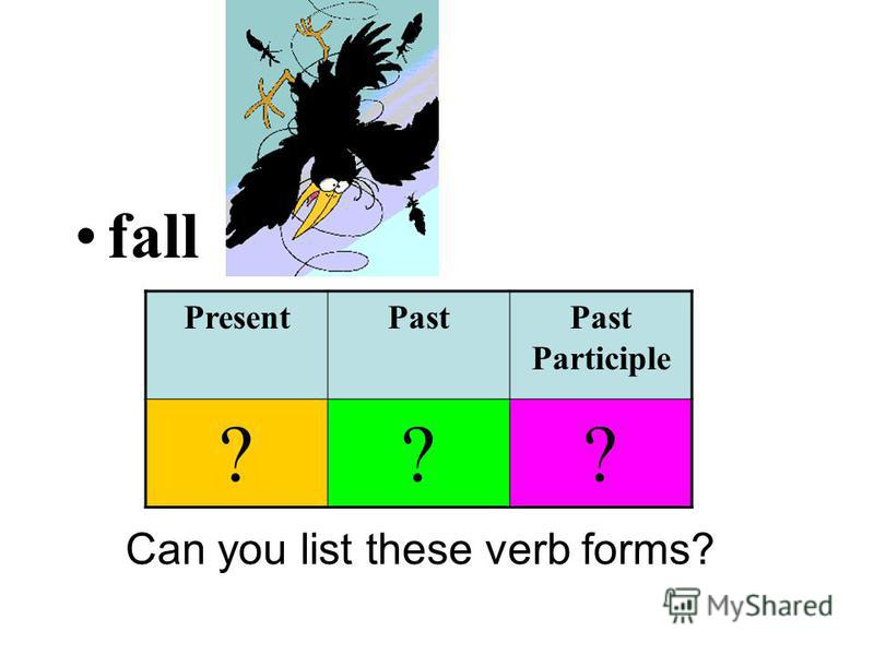 fall Can you list these verb forms? PresentPastPast Participle ???
