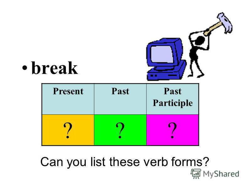 break Can you list these verb forms? PresentPastPast Participle ???