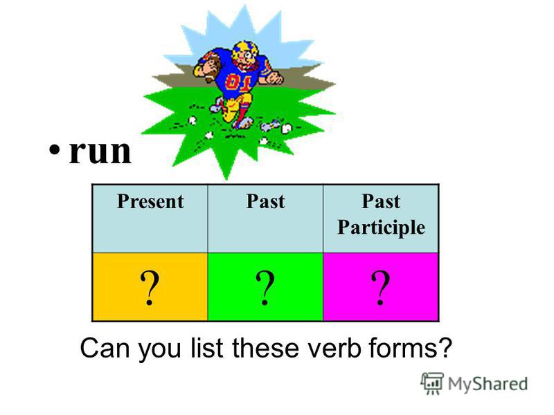 run Can you list these verb forms? PresentPastPast Participle ???