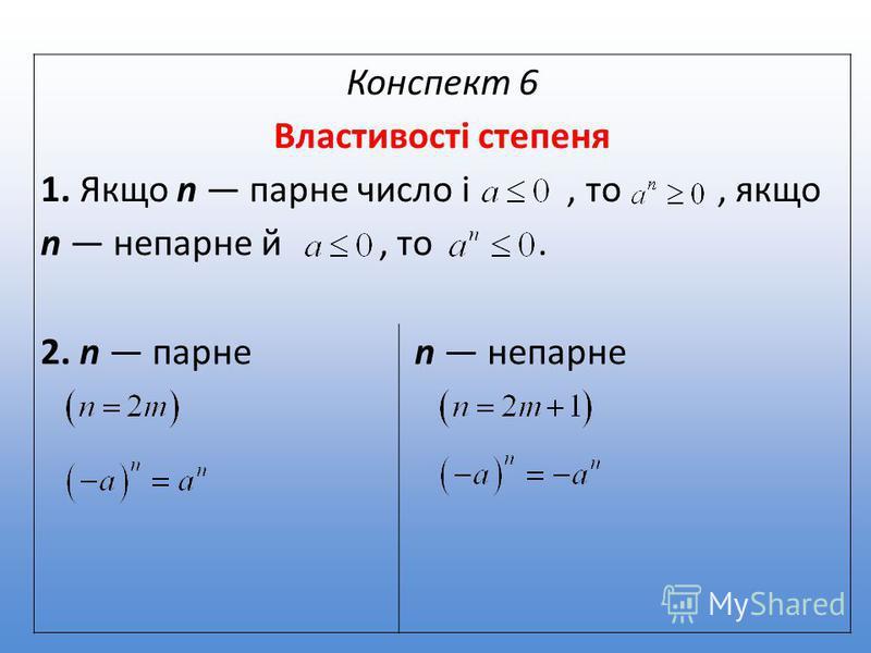 Конспект 6 Властивості степеня 1. Якщо n парне число і, то, якщо n непарне й, то. 2. n парне n непарне