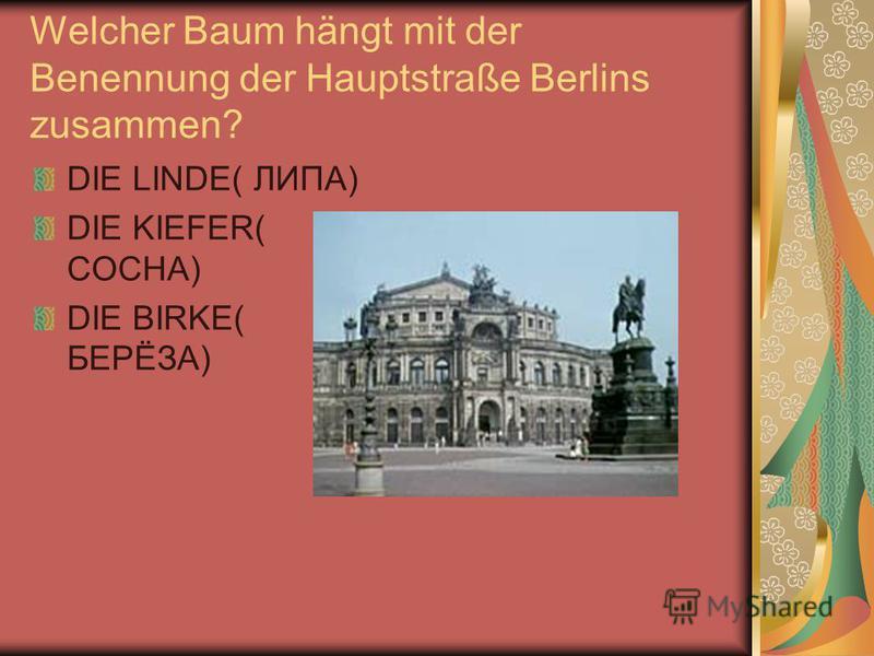 Welcher Baum hängt mit der Benennung der Hauptstraße Berlins zusammen? DIE LINDE( ЛИПА) DIE KIEFER( СОСНА) DIE BIRKE( БЕРЁЗА)