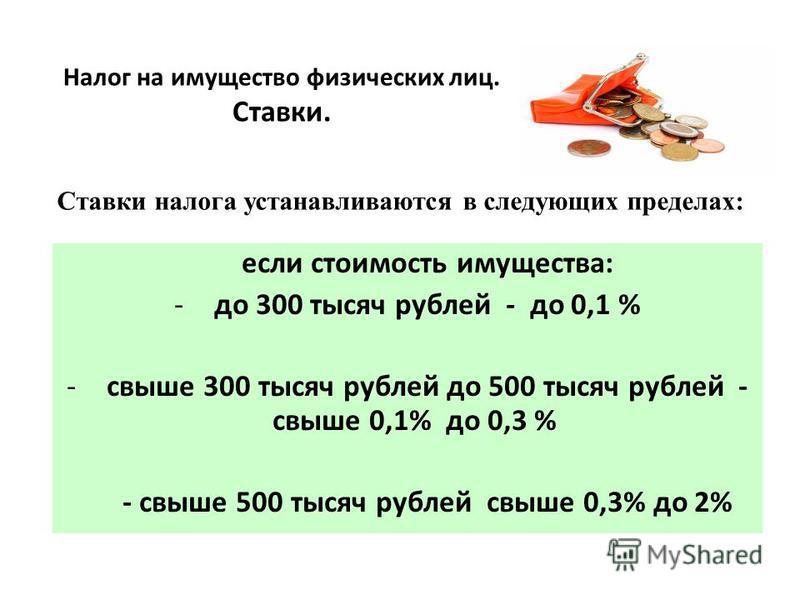 Налог на имущество физических лиц. Ставки. если стоимость имущества: -до 300 тысяч рублей - до 0,1 % -свыше 300 тысяч рублей до 500 тысяч рублей - свыше 0,1% до 0,3 % - свыше 500 тысяч рублей свыше 0,3% до 2% Ставки налога устанавливаются в следующих