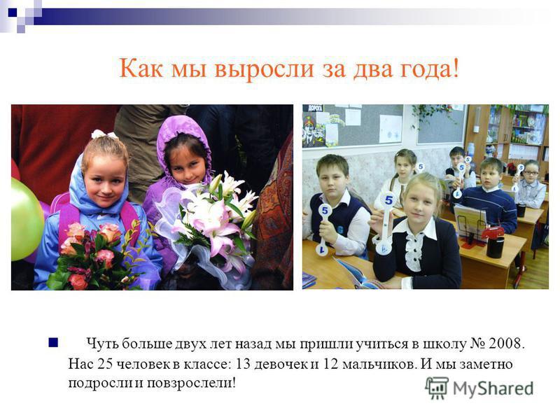 Как мы выросли за два года! Чуть больше двух лет назад мы пришли учиться в школу 2008. Нас 25 человек в классе: 13 девочек и 12 мальчиков. И мы заметно подросли и повзрослели!