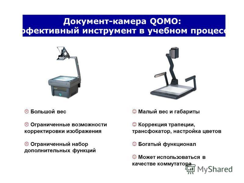 Документ-камера QOMO: Эффективный инструмент в учебном процессе Большой вес Ограниченные возможности корректировки изображения Ограниченный набор дополнительных функций Малый вес и габариты Коррекция трапеции, трансфокатор, настройка цветов Богатый ф