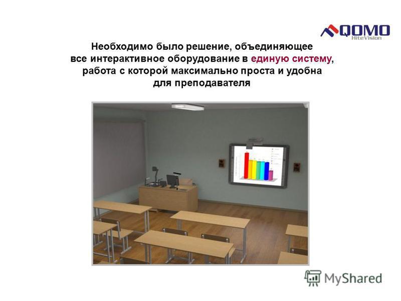 Необходимо было решение, объединяющее все интерактивное оборудование в единую систему, работа с которой максимально проста и удобна для преподавателя
