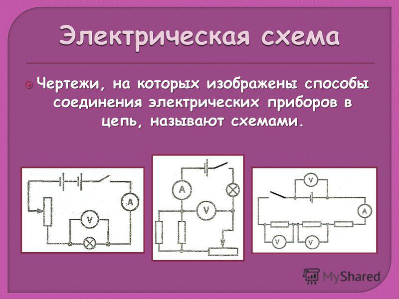 Чертежи, на которых изображены способы соединения электрических приборов в цепь, называют схемами. Чертежи, на которых изображены способы соединения электрических приборов в цепь, называют схемами.