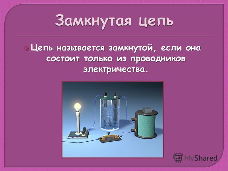 Цепь называется замкнутой, если она состоит только из проводников электричества. Цепь называется замкнутой, если она состоит только из проводников электричества.