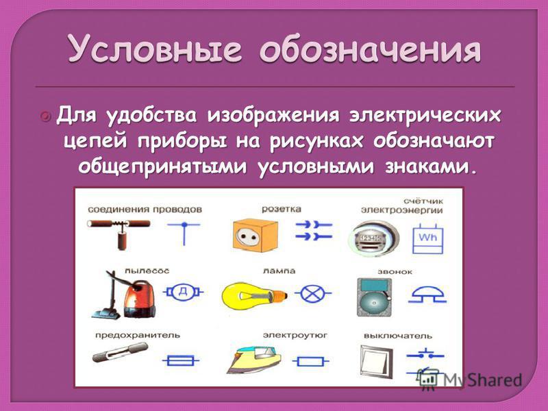 Для удобства изображения электрических цепей приборы на рисунках обозначают общепринятыми условными знаками. Для удобства изображения электрических цепей приборы на рисунках обозначают общепринятыми условными знаками.