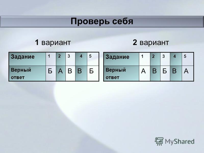 Проверь себя 1 вариант 2 вариант Задание 123 45 Верный ответ БАВВБ Задание 123 45 Верный ответ АВБВА