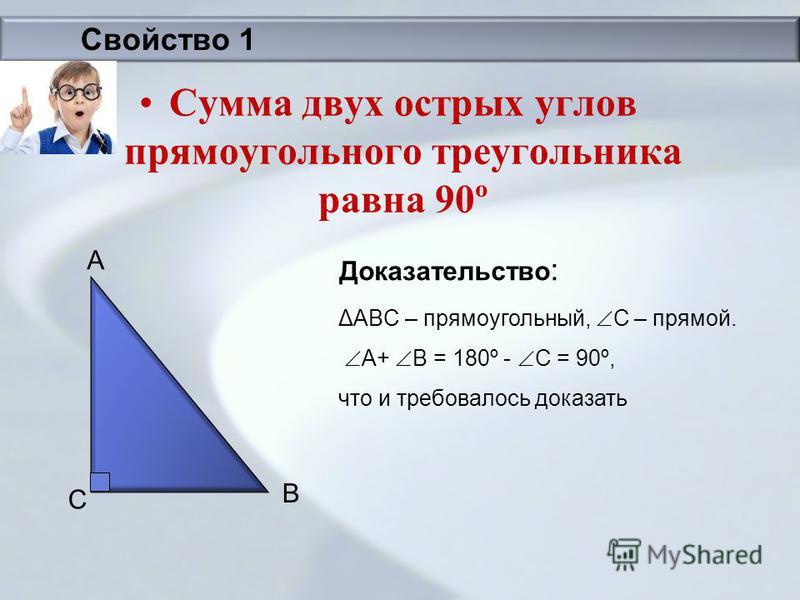 Сумма двух острых углов прямоугольного треугольника равна 90º Доказательство : ΔABC – прямоугольный, С – прямой. A+ B = 180º - C = 90º, что и требовалось доказать A B C Свойство 1