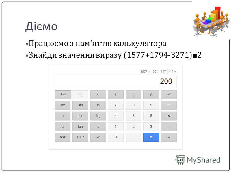 Діємо Працюємо з памяттю калькулятора Знайди значення виразу (1577+1794-3271) 2