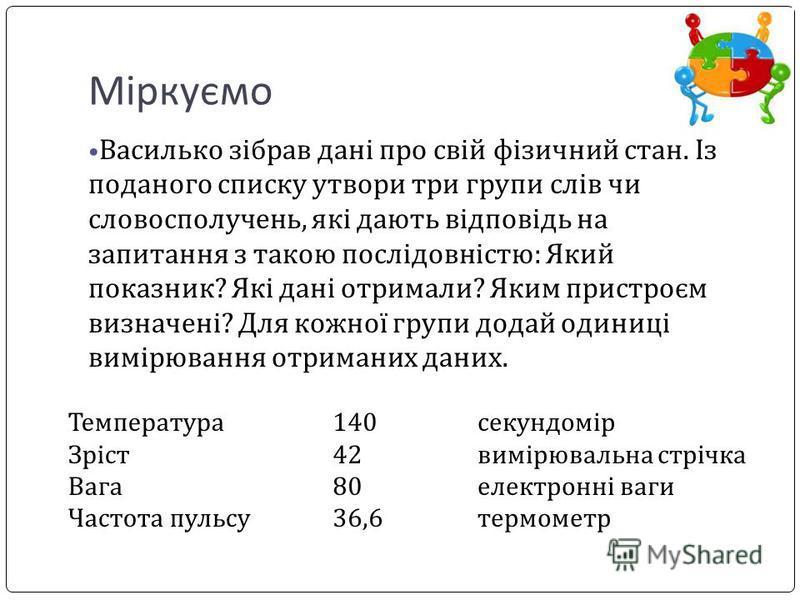 Міркуємо Василько зібрав дані про свій фізичний стан. Із поданого списку утвори три групи слів чи словосполучень, які дають відповідь на запитання з такою послідовністю: Який показник? Які дані отримали? Яким пристроєм визначені? Для кожної групи дод