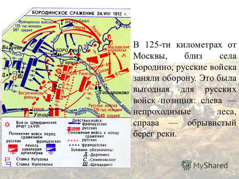 В 125-ти километрах от Москвы, близ села Бородино, русские войска заняли оборону. Это была выгодная для русских войск позиция: слева непроходимые леса, справа обрывистый берег реки.