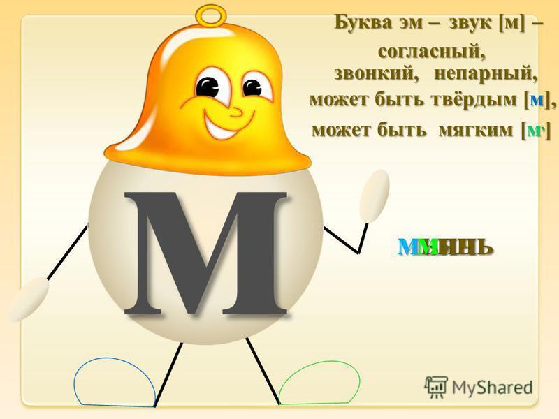 м мышь Буква эм – звук [м] – согласный, звонкий,непарный, может быть твёрдым [м], может быть мягким [м, ] мяч