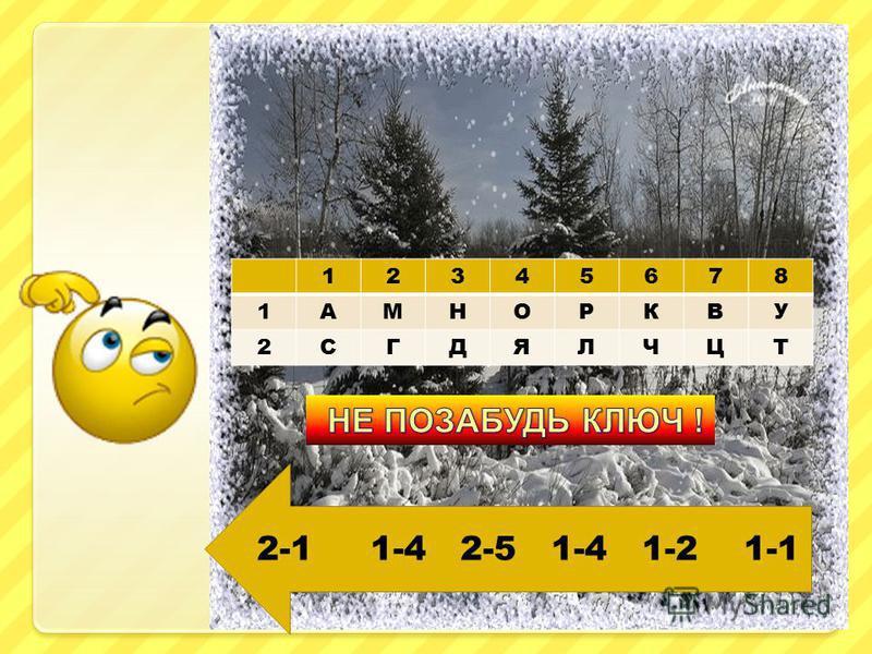 12345678 1АМНОРКВУ 2СГДЯЛЧЦТ 2-1 1-4 2-5 1-4 1-2 1-1