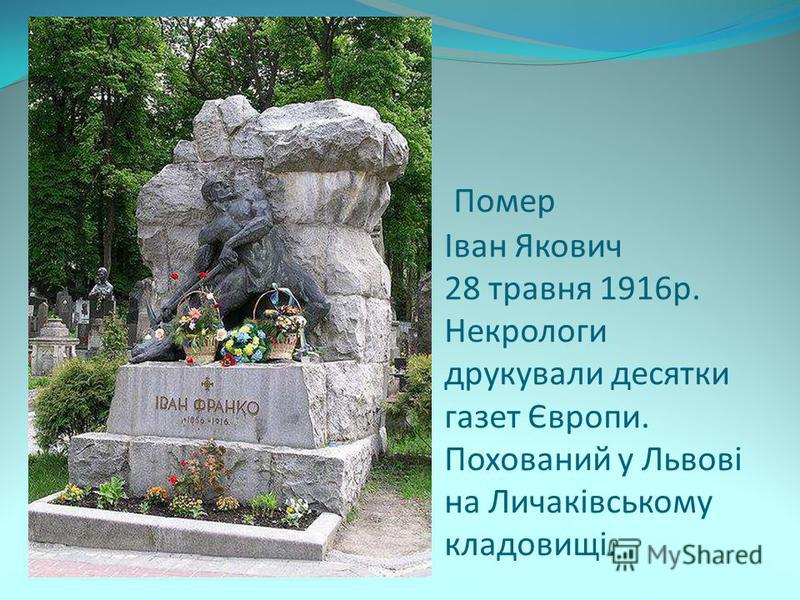 Помер Іван Якович 28 травня 1916р. Некрологи друкували десятки газет Європи. Похований у Львові на Личаківському кладовищі.